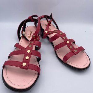 XYD Pink Sandals Open Toe Studds Ankle Strappy